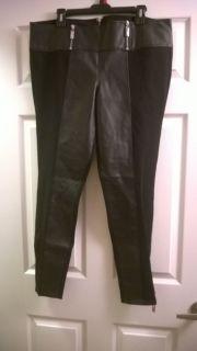 Women's Baby Phat Faux Leather Trim Black Stretch Pants 1x