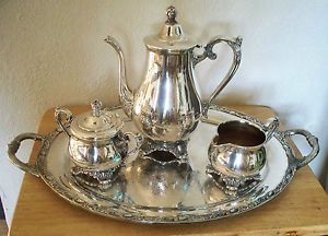 Antique Vintage Rogers Son Victorian Rose Silver Plated Tea Coffee Set 1901