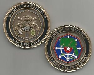 US Army Fort Benning CID Battalion Crime Fighters Spinner Challenge Coin