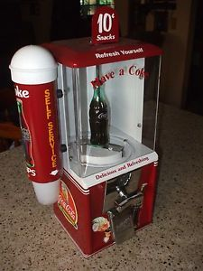 Coca Cola Theme Candy Vending Machine Cup Dispenser Optional Matching Stand