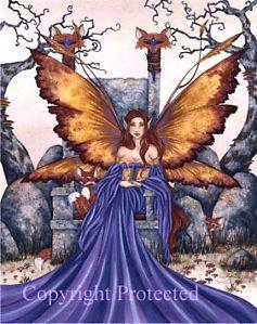 Amy Brown Print Fox Sister Fairy Faery Chair Throne Forest Purple Dress 8 5x11