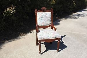 Fancy Walnut Victorian Eastlake Aesthetic Side Chair with Inlay Crown CA 1880