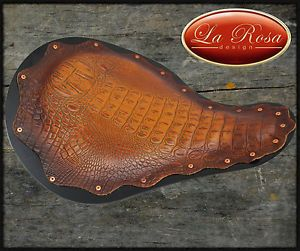 "16"" Alligator Brown Leather Motorcycle Solo Seat Chopper Bobber Custom La Rosa"