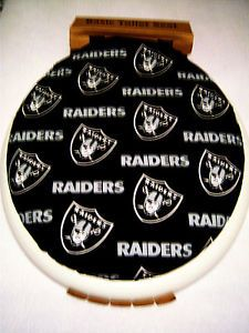 """16"""" x14"""" Toilet Seat Lid Cover Made from Oakland Raiders Fabric"""