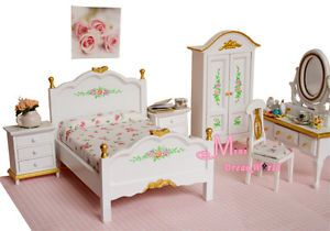 1 12 Dollhouse Miniature White Rose Bedroom Dresser Chair Wardrobe WB81