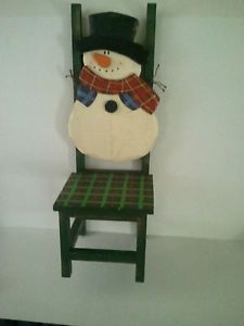 """Snowman Christmas Holiday Decorative Chair 21"""" Tall 8""""Wide Jewell Tone Colors"""