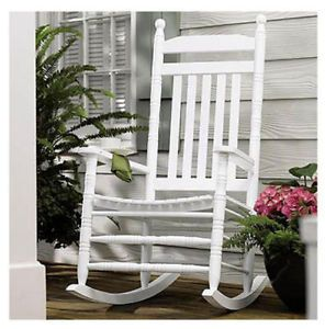 Knollwood KN 22W Classic White Wood Front Porch Rocker Rocking Chair