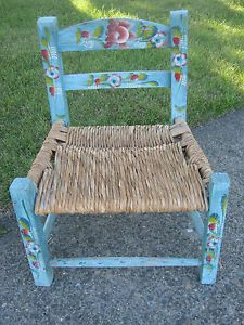 Vintage Mexican Folk Art Small Painted Flowers Child Size Wood Chair
