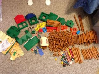 475 Lincoln Logs in Bag Fort Horse Wagon Indians Cowboys and More 12lb