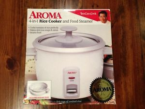 Aroma 4 in 1 Rice Cooker Food Steamer 2 6 Cups New Soups Stews Steam Tray