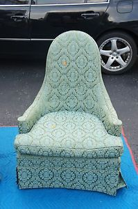 Unique Pair of Vintage Silver Craft Furniture Company Upholstered Green Chairs