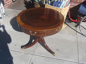"31"" inch Wide Baker Furniture Company Regency Inlaid Mahogany Drum Table"