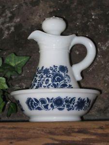 Avon Milk Glass Pitcher Bowl Delft Blue Pattern 1970