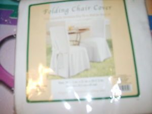 New NIP Folding Chair Cover 100 Percent Cotton Standard Size White Chic Wedding