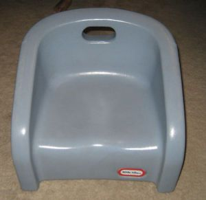 Little Tikes Blue Gray Booster Seat Chair Child Size Hard Molded Plastic Clean