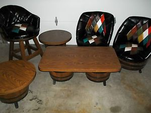 ... Vintage Whiskey Barrel Furniture Original Chairs Tables Bar Man Cave  RARE ...