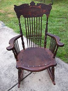 ... 1800u0027s Antique Rocking Chair With Leather Seat Price Dropped To ...