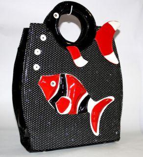 Celeb Large Funky Animal Fish Shaped Womens Silver Red Handbag Bag Stylish Big