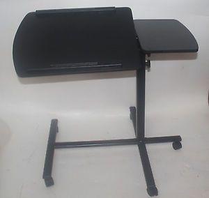 Rolling Laptop Desk w Tiltable Split Top Table Hospital Food Tray Computer PC