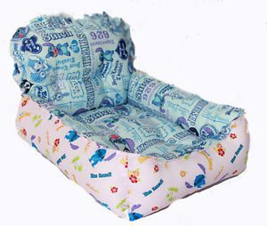 Blue Pink Puppy Doggie Cat Dog Bed Mat House Soft Grid Lilo Stitch Chair LL02