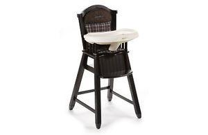Eddie Bauer Classic Wood High Chair Charter Brown Plaid and Blue Trim Brand New