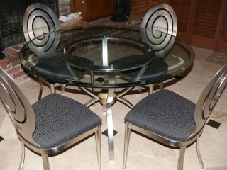 Ethan Allen Radius Collection Glass Table and 6 Chairs