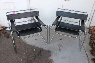 Pair Vintage Italian High End Wassily Black Leather Chrome Mid Century Mod Chair