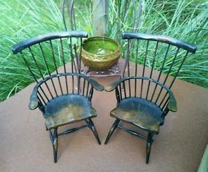 American Girl Doll Windsor Style Vtg Antique Curved Wood Wooden Chair Furniture