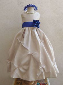 Champagne Tan Turquoise Aqua Navy Blue Jade Sage Green Party Flower Girl Dress