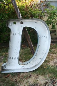 "Vtg Metal Marquee Channel Letter D 30"" Architectural Salvage Wall Art Industrial"