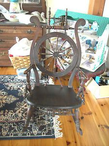 Antique 1800's Spinning Wheel Custom Rocker Rocking Chair Nice Patina Semi RARE