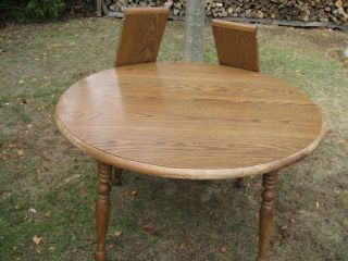 "Vintage 48"" Diameter Round Oak Dining Table with 4 Starter Chairs"