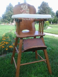 Antique Vintage Retro Old Storkline Baby Child Infant Wooden High Chair Seat