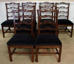 Ethan Allen Georgian Court Dining Room Chairs Set of 8 New Upholstery