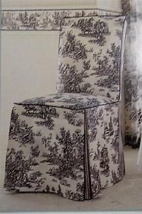 Waverly Garden Room Black White Toile Fabric Chair Cover French Country Chic