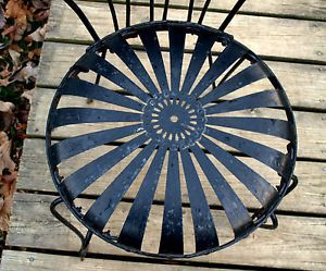 Vtg Francois Carre Spring Steel Sunburst Button 4 Chairs Table Victorian Garden