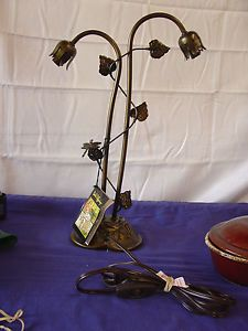 Dale Tiffany Lamp Item No 770 1005 Dragonfly Lilly Pad Rose Antique Metal Brass