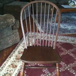 Conant Ball Furniture Antique Solid Oak Serpentine Chair with Spindle Back Rails