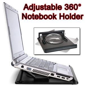 New Laptop Notebook Cooling Stand Holder Mount Desk Pad 360 Rotation Swivel Tray