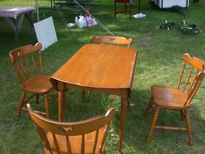 Maple Drop Leaf Table with 4 Chairs and Hutch