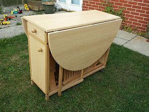 Drop Leaf Gate Leg Table with 4 Fold Up Chairs That Store Inside The Table