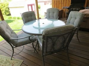 Patio Table w Lazy Susan and 5 Chairs Jaclyn Smith Today