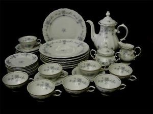34 PC Winterling Bavaria Germany Blue Flowers China Floral Dinnerware w Teapot