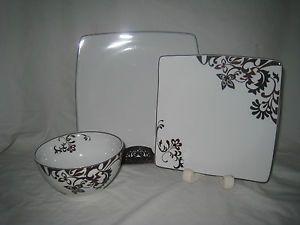 9pc Mikasa Chocolate Swirl Dinnerware Plate s Bowl