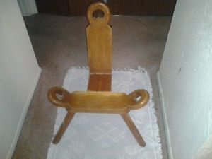 Antique 1800's Hand Carved Birthing Chair