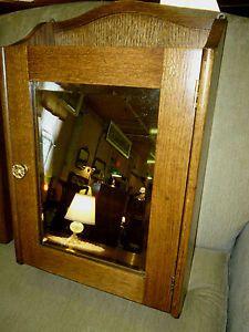 Antique Oak Medicine Cabinet Beveled Mirror Ornate Brass Pull Refinished