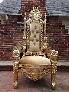 Beige Gold Hollywood Regency Rose Head King Chair Gothic Queen King Throne