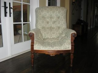 Antique Eastlake Country Style Arm Chair Carved Wood Frame Green Leaf Fabric
