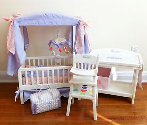 ... American Girl Bitty Baby Canopy Crib Changing Table High Chair Table  Diaper Bag ...