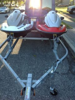 Pair of Kawasaki STX 15 Jet Skis Jet Ski Trailer 2 Floating Docks More